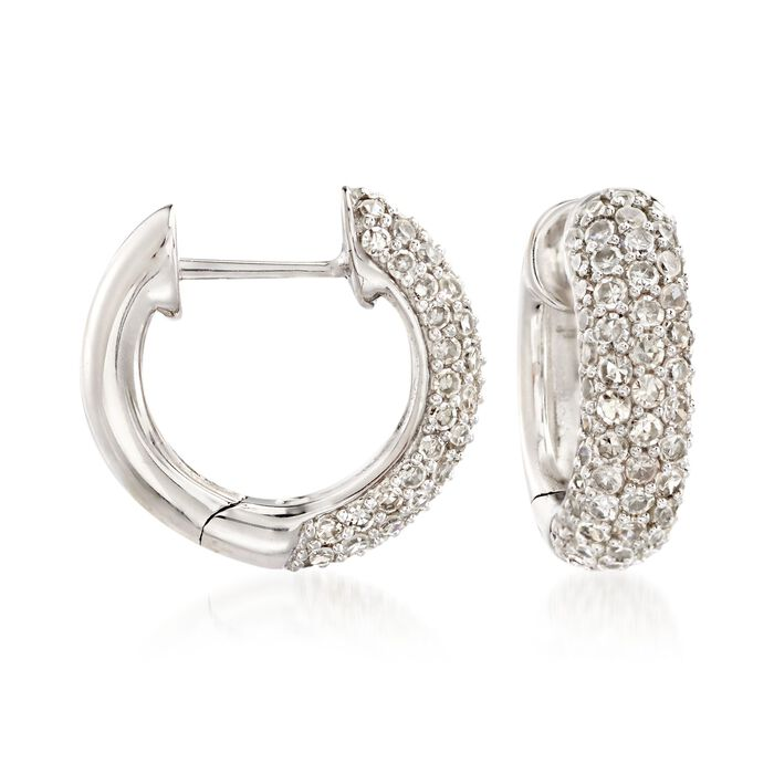 "1.10 ct. t.w. Diamond Huggie Hoop Earrings in 14kt White Gold. 1/2"", , default"