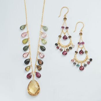 12.00 Carat Champagne Quartz and 15.40 ct. t.w. Multicolored Tourmaline Necklace in 14kt Yellow Gold