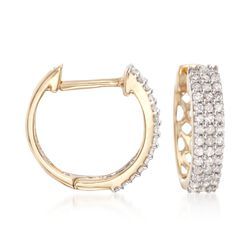".25 ct. t.w. Diamond Huggie Hoop Earrings in 14kt Yellow Gold. 3/8"", , default"
