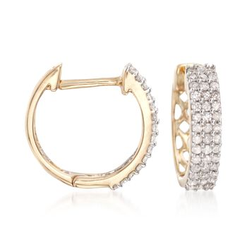 ".25 ct. t.w. Diamond Huggie Hoop Earrings in 14kt Yellow Gold. 3/8"", , default"