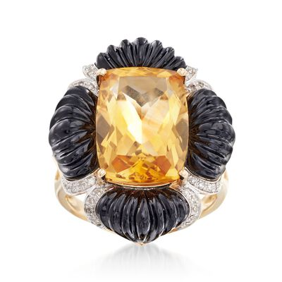 8.25 Carat Citrine and Black Onyx Ring With Diamonds in 14kt Yellow Gold, , default