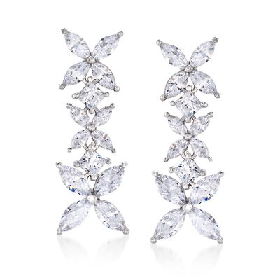4.80 ct. t.w. Princess-Cut and Marquise CZ Floral Drop Earrings in Sterling Silver, , default