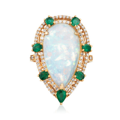 Ethiopian Opal, 1.00 ct. t.w. Emerald and .71 ct. t.w. Diamond Ring in 18kt Yellow Gold, , default