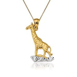 "14kt Yellow Gold Giraffe Pendant Necklace. 18"", , default"