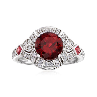 2.00 ct. t.w. Simulated Ruby and .40 ct. t.w. CZ Ring in Sterling Silver