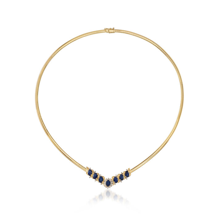 """C. 1980 Vintage 4.20 Sapphire and .25 ct. t.w. Diamond Necklace in 14kt Yellow Gold. 16.5"""", , default"""