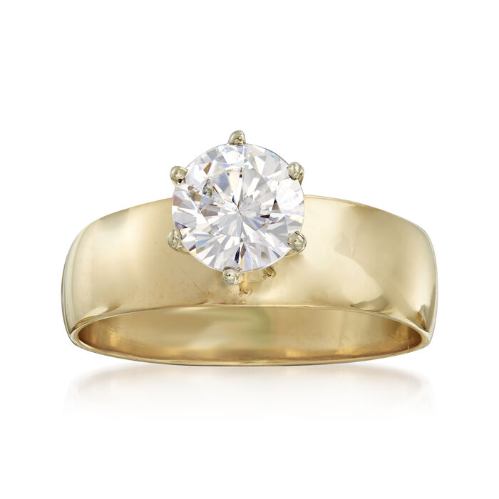 C. 1980 Vintage 1.00 Carat CZ Ring in 10kt Yellow Gold. Size 6.5, , default