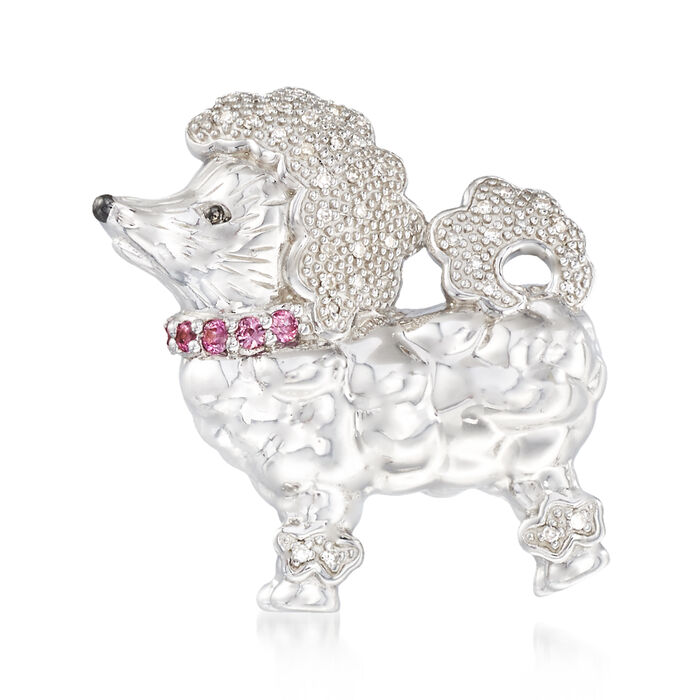 .10 ct. t.w. Diamond Poodle Pin Pendant with Pink Sapphire Accents in Sterling Silver