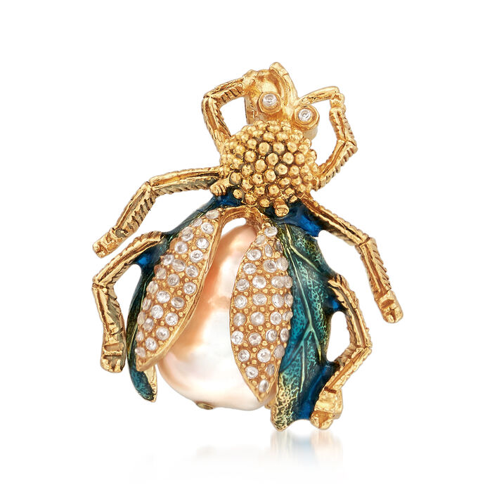 Italian 20x15mm Cultured Baroque Pearl and .30 ct. t.w. CZ Bug Pin in 18kt Gold Over Sterling, , default