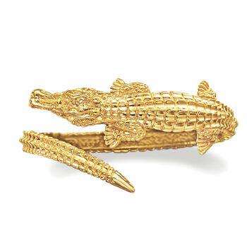 Italian 18kt Yellow Gold Alligator Bangle Bracelet, , default