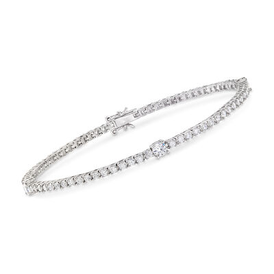2.30 ct. t.w. CZ Tennis Bracelet in Sterling Silver, , default