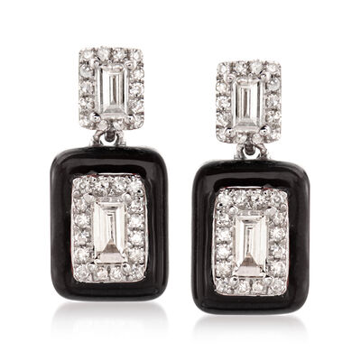 .34 ct. t.w. Diamond Drop Earrings with Black Enamel in 18kt White Gold, , default
