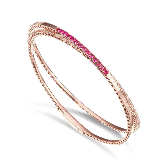 .70 ct. t.w. Ruby and .60 ct. t.w. Diamond Wrap Bracelet in 18kt Rose Gold