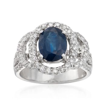 2.90 Carat Sapphire and .65 ct. t.w. Diamond Ring in 18kt White Gold, , default