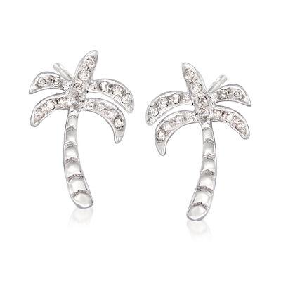 .10 ct. t.w. Diamond Palm Tree Stud Earrings in Sterling Silver