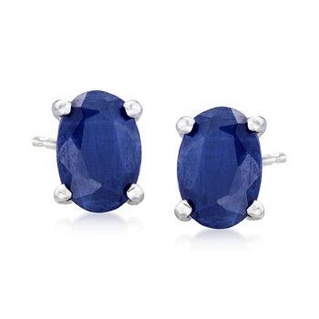 1.10 ct. t.w. Sapphire Earrings in 14kt White Gold, , default