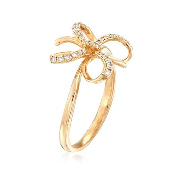.17 ct. t.w. Diamond Bow Ring in 14kt Yellow Gold, , default