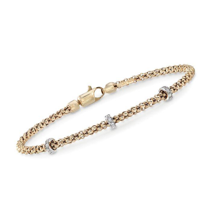"Phillip Gavriel ""Popcorn"" 14kt Yellow Gold Three-Station Bracelet with Diamond Accents. 7.25"", , default"