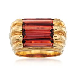 C. 1980 Vintage 4.50 ct. t.w. Garnet Ribbed Ring in 18kt Yellow Gold. Size 7, , default