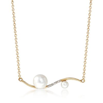 4-8.5mm Cultured Pearl Curved Bar Necklace with Diamond Accents in 14kt Gold, , default