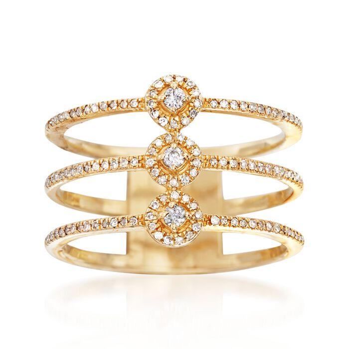 .25 ct. t.w. Diamond Three-Row Ring in 14kt Yellow Gold