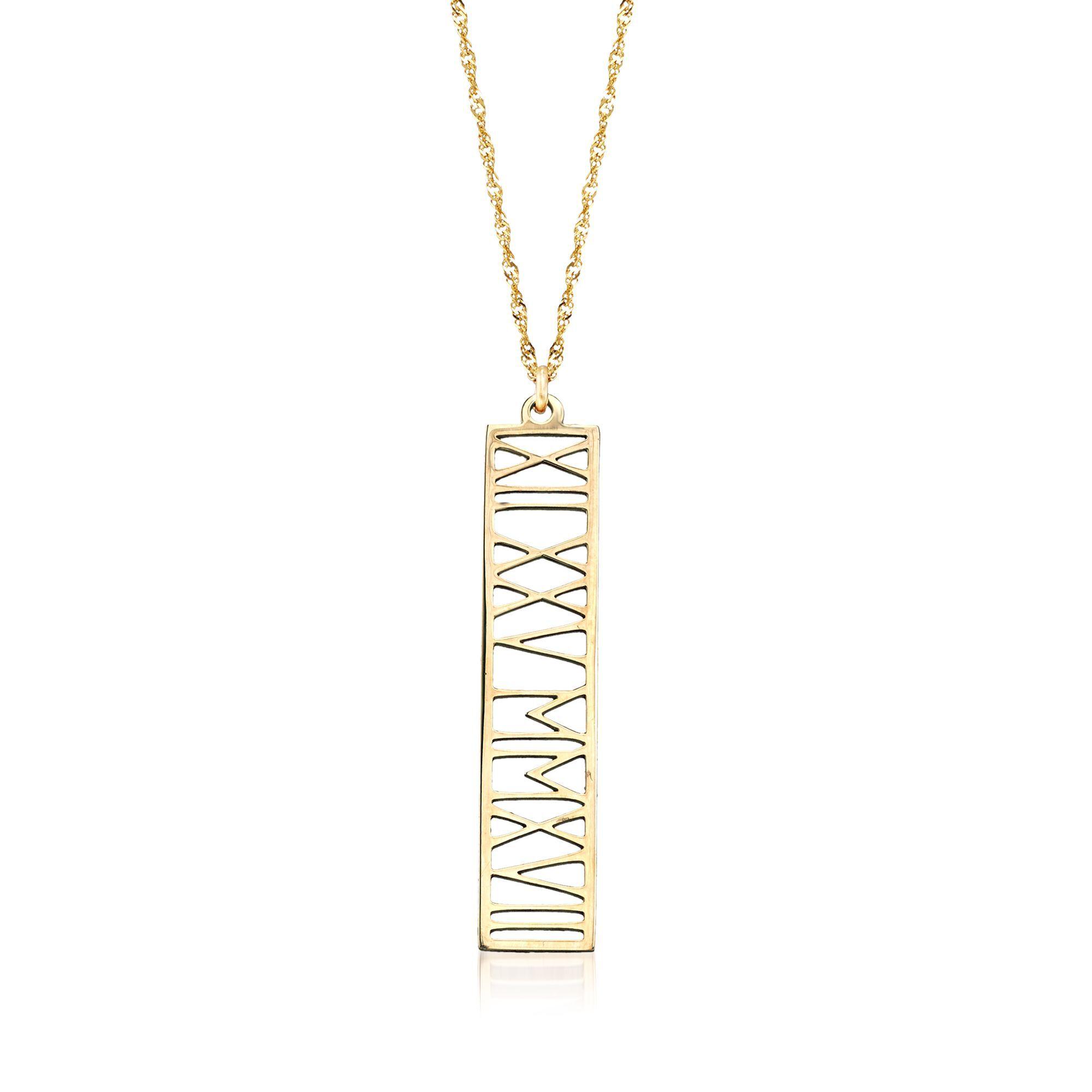 Roman Numeral Bar Necklace Vertical Roman Numeral Necklace