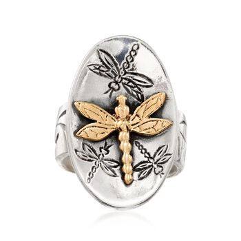 Sterling Silver and 14kt Yellow Gold Dragonfly Ring, , default