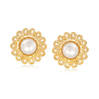 Italian 7.5mm Cultured Pearl Flower Stud Earrings in 18kt Yellow Gold, , default