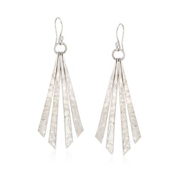 Sterling Silver Hammered and Polished Diagonal Fringe Earrings , , default