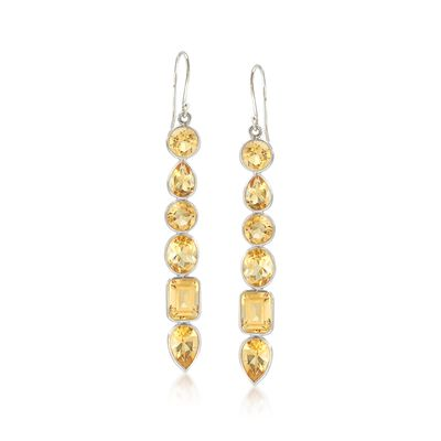 13.20 ct. t.w. Citrine Multi-Shape Drop Earrings in Sterling Silver, , default