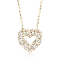 .78 ct. t.w. Diamond Open-Space Heart Necklace in 14kt Yellow Gold, , default