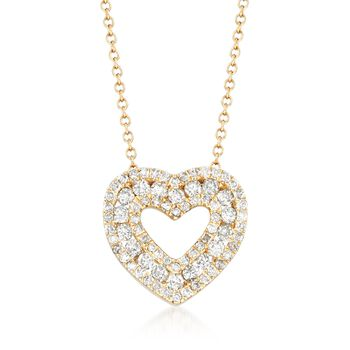 ".78 ct. t.w. Diamond Open-Space Heart Necklace in 14kt Yellow Gold. 16"", , default"