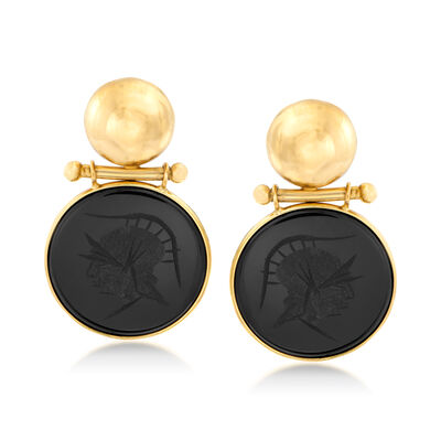 C. 1980 Vintage Black Onyx Centurion Head Drop Earrings in 14kt Yellow Gold, , default