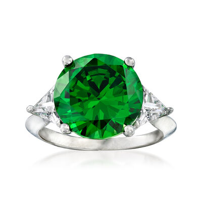 6.25 Carat Simulated Emerald and 1.50 ct. t.w. CZ Ring in Sterling Silver, , default