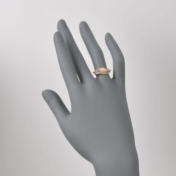 Simon G. 18kt Rose Gold Leaf Design Ring with Diamonds. Size 6.5, , default