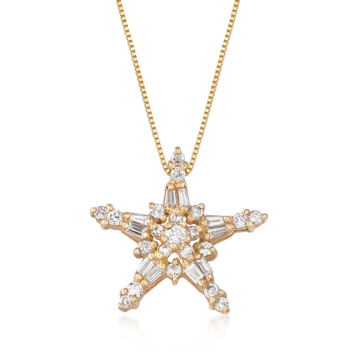 "C. 1990 Vintage .85 ct. t.w. Diamond Star Pendant Necklace in 10kt Yellow Gold. 18"", , default"