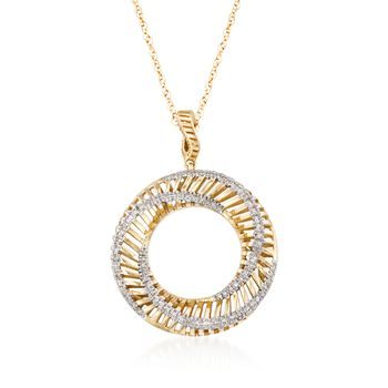 ".15 ct. t.w. Diamond Twisted Circle Pendant Necklace in 14kt Yellow Gold. 18"", , default"