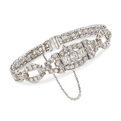 C. 1960 Vintage 3.70 ct. t.w. Diamond Bracelet in Platinum