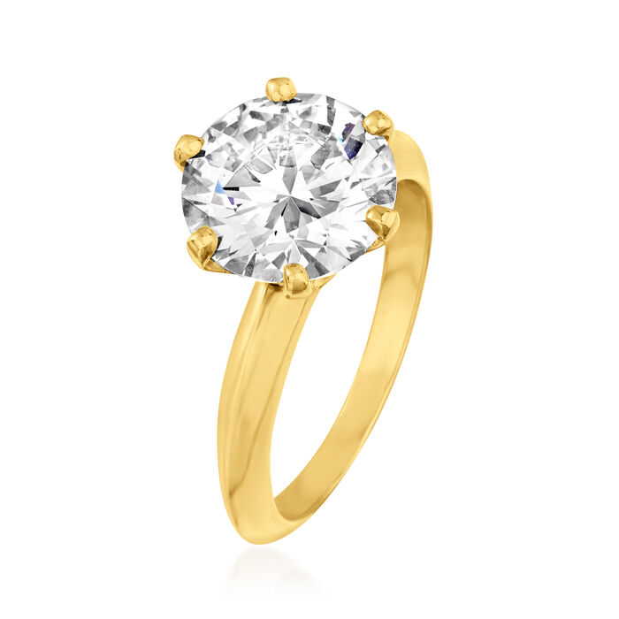 3.13 Carat Diamond Solitaire Ring in 18kt Yellow Gold