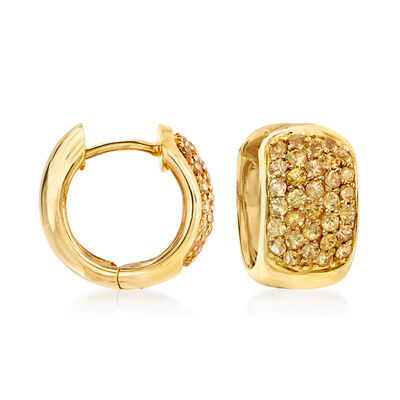 1.30 ct. t.w. Yellow Sapphire Huggie Hoop Earrings in 14kt Yellow Gold