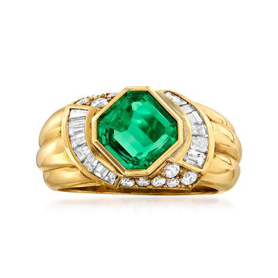 C. 1980 Vintage 1.55 Carat Emerald and .75 ct. t.w. Diamond Ring in 18kt Yellow Gold