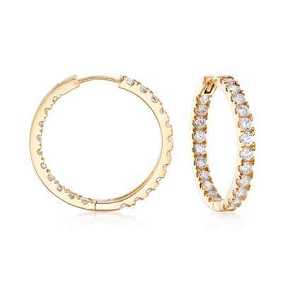 1.75 ct. t.w. CZ Inside-Outside Hoop Earrings in 14kt Yellow Gold, , default