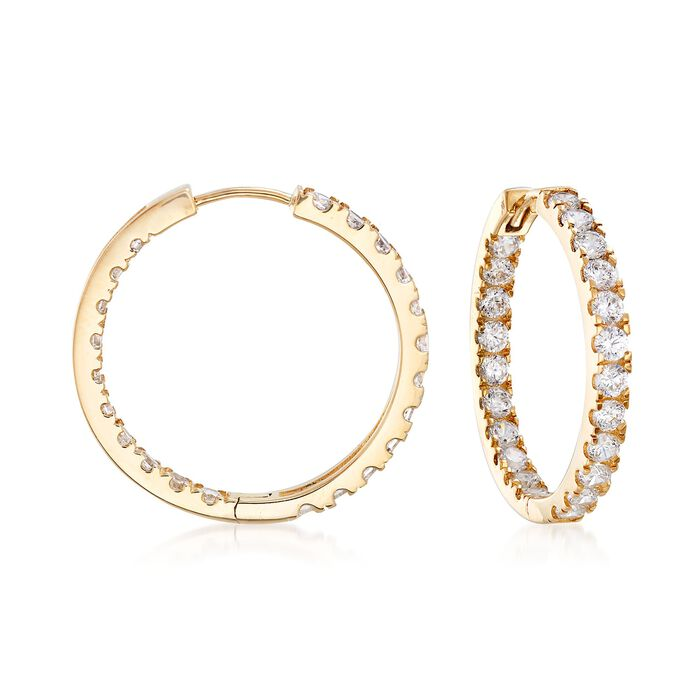 1.75 ct. t.w. CZ Inside-Outside Hoop Earrings in 14kt Yellow Gold
