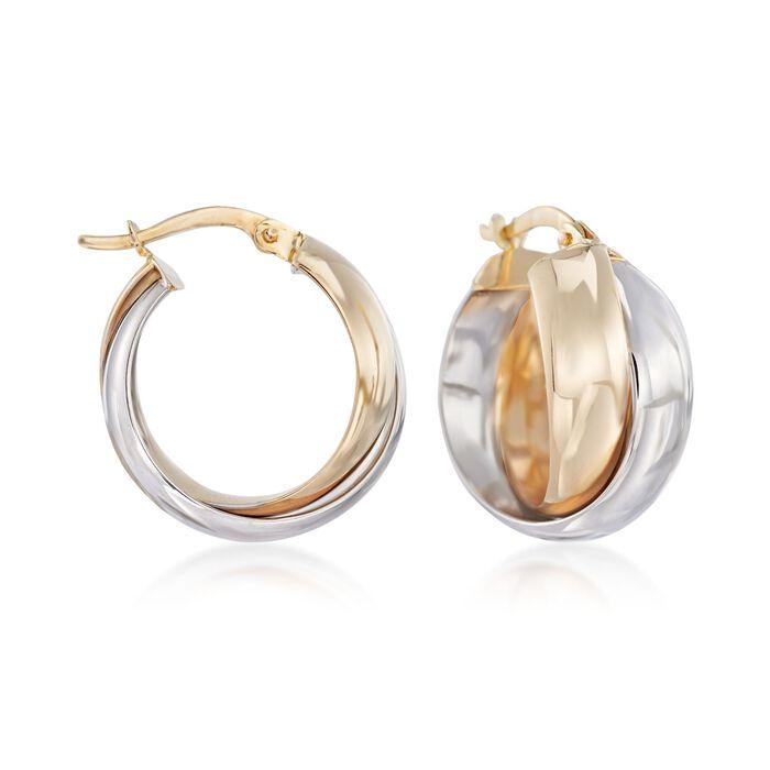 """Italian 18kt Two-Tone Gold Crisscross Hoop Earrings. 3/4"""""""