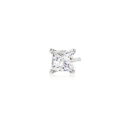 .50 Carat Princess-Cut CZ Single Stud Earring in 14kt White Gold