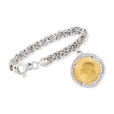Italian Two-Tone Sterling Silver Replica Lira Coin Byzantine Bracelet, , default