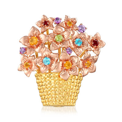 .95 ct. t.w. Multi-Gemstone Flower Pin/Pendant in 18kt Yellow and Rose Gold Over Sterling Silver, , default
