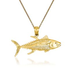 "14kt Yellow Gold Fish Pendant Necklace. 18"", , default"