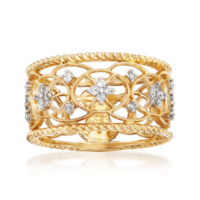 Gabriel Designs .25 ct. t.w. Diamond Openwork Filigree Ring in 14kt Yellow Gold