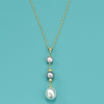 6-10mm Multicolored Cultured Pearl Drop Pendant Necklace in 14kt Yellow Gold